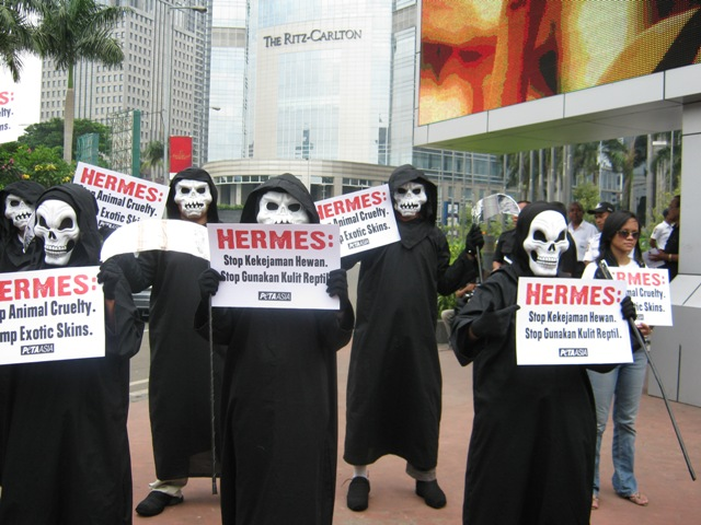 PETA's Grim Reapers Protest at Hermes in Jakarta