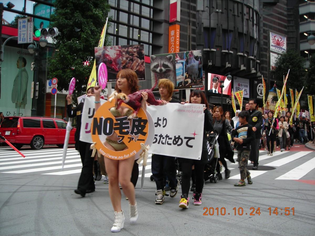 Japanese anti-fur demo in Tokyo