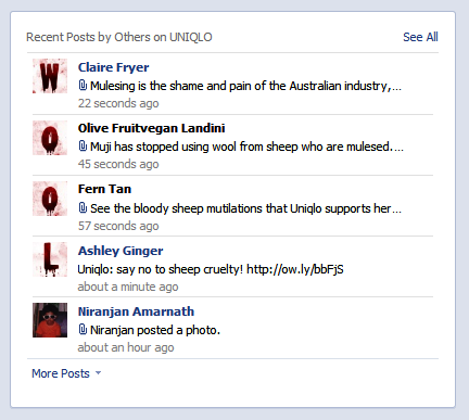 Bloody Wool Industry Leaves Mark On Uniqlo Facebook Page News