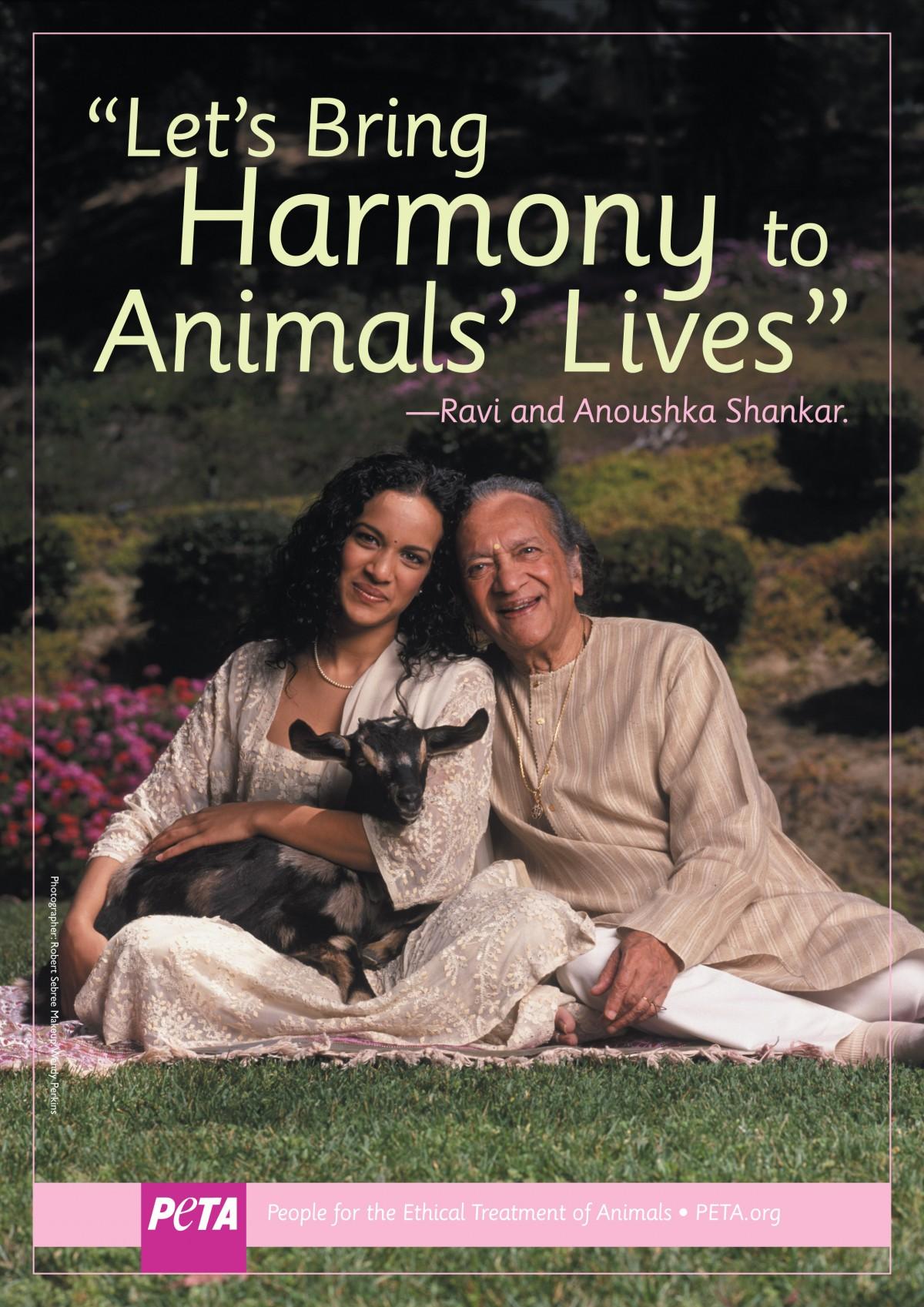 Ravi and Anouska Shankar PETA ad
