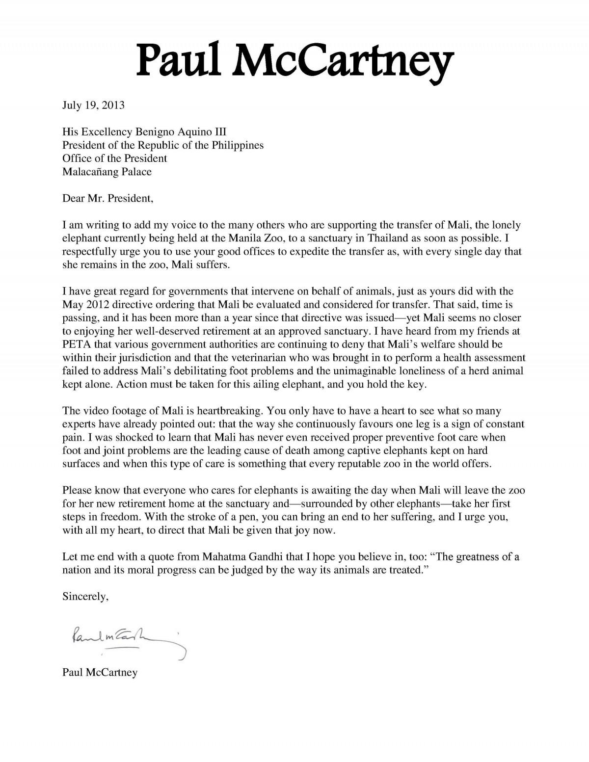 Paul McCartney letter