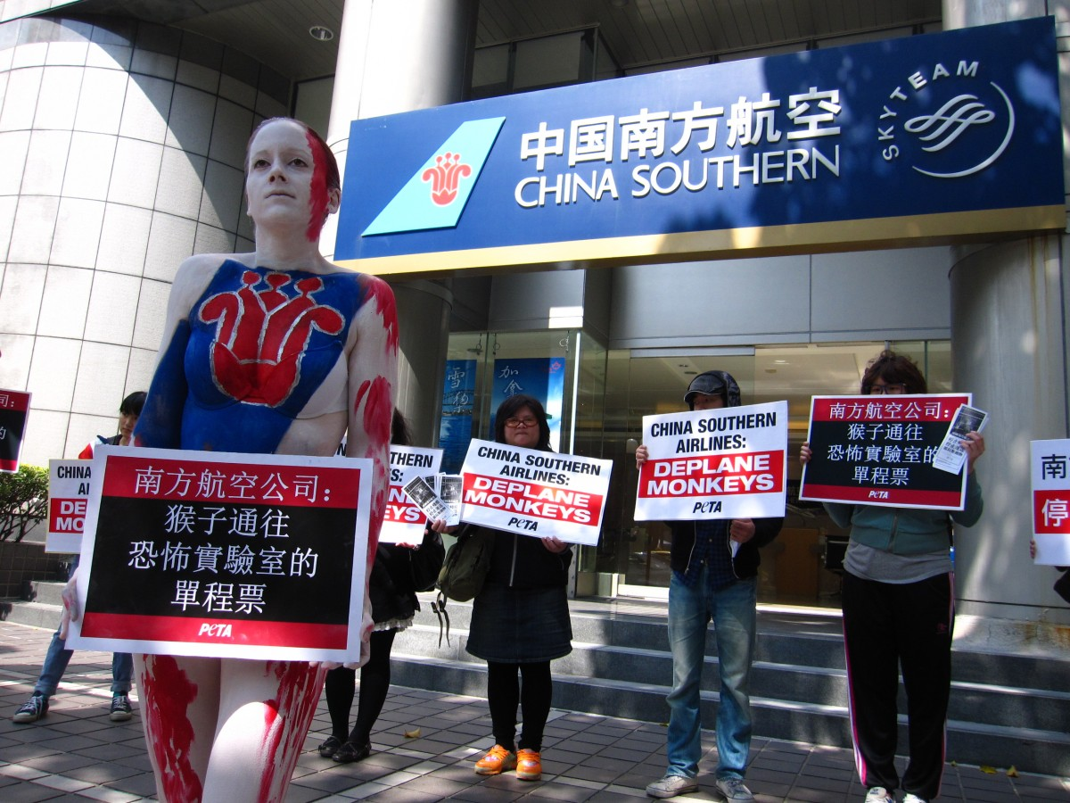 China Southern Airlines Taipei protest