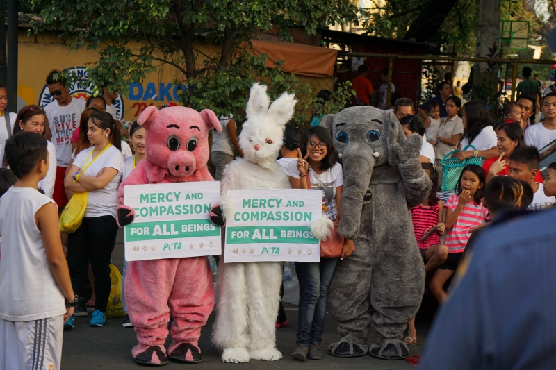 PETA Asia welcoming Pope Francis when he visited the Philippines.