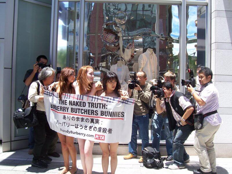 PETA activists protest Burberry fur farm cruelty in Japan