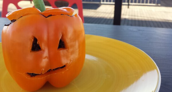 Super-Easy Halloween Recipe: Scary Stuffed Bell Peppers