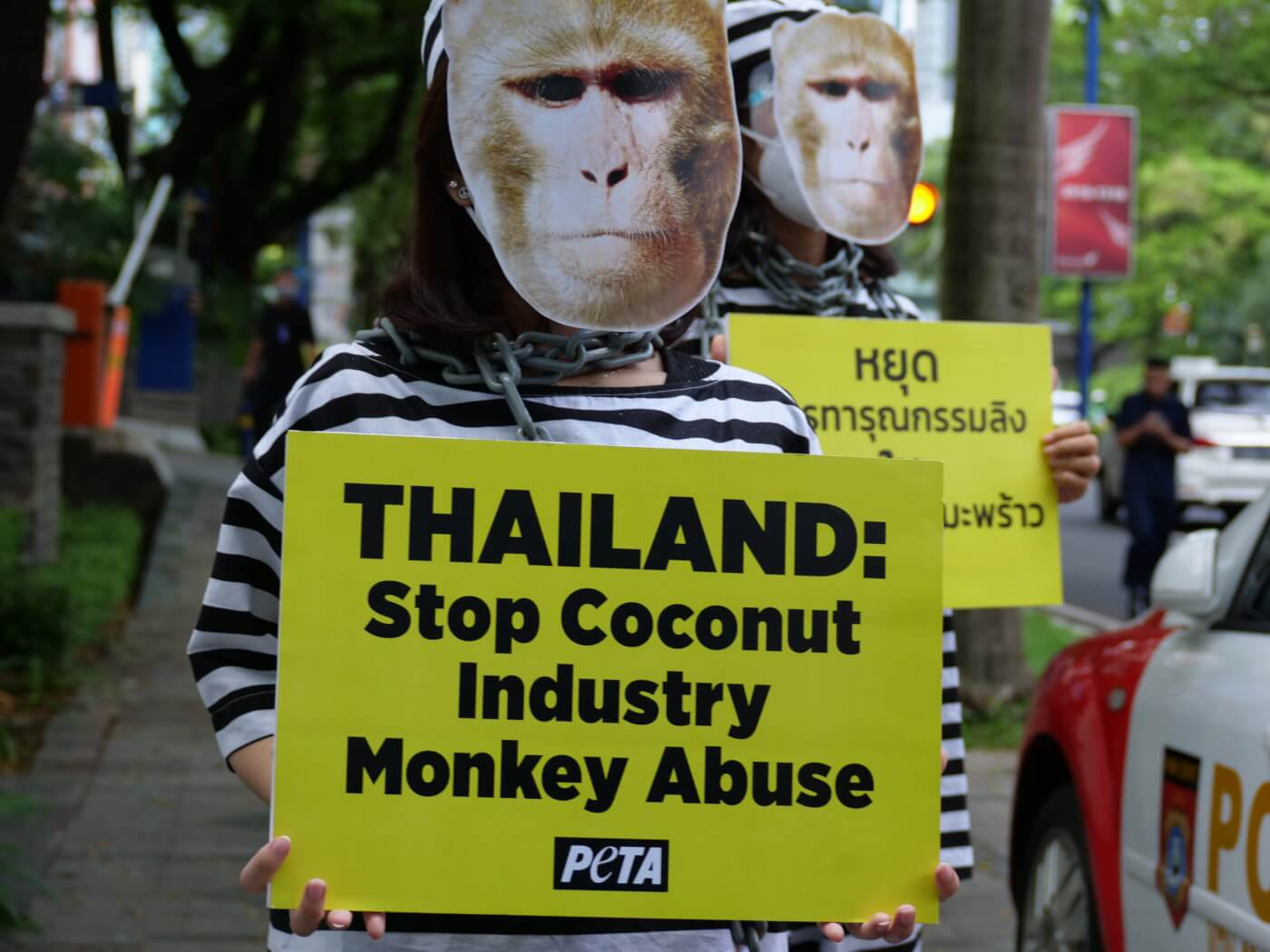 Chained 'Monkeys' Protest Coconut Industry at Thai Embassy in Jakarta, Indonesia